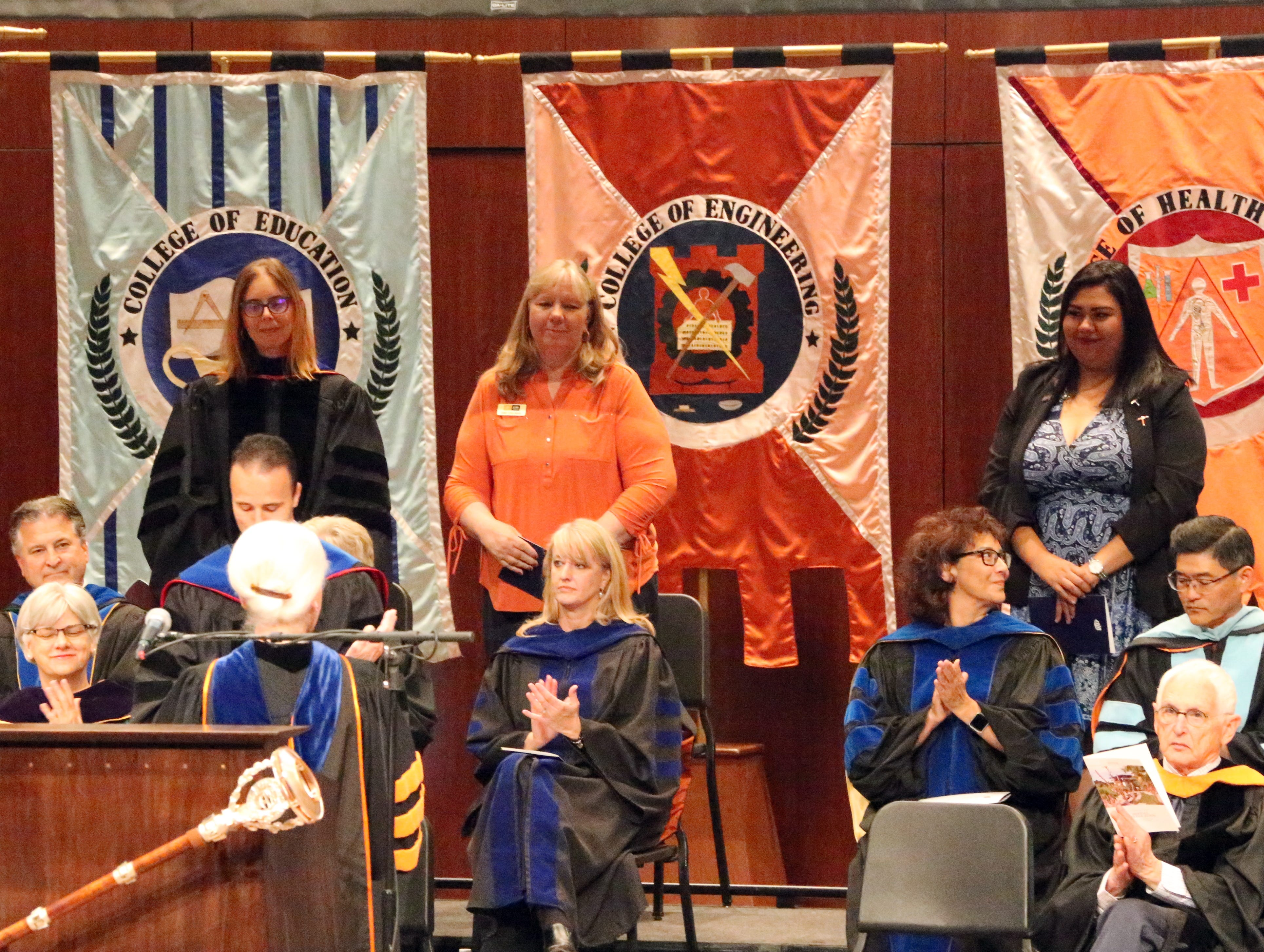 UTEP president Diana Nataliciio introduces special guests at the 2018 Fall Convocation Thursday on the UTEP campus.