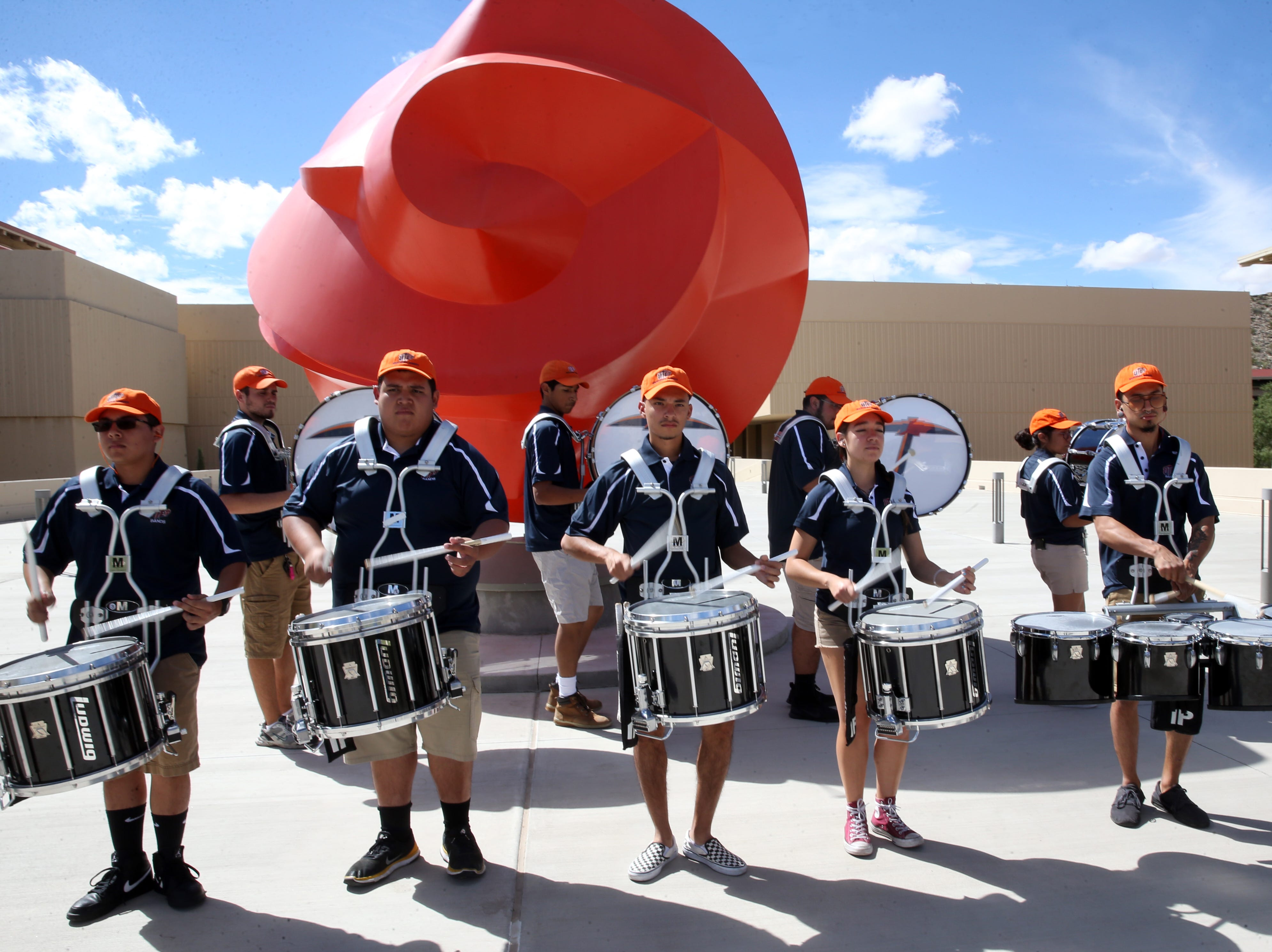 The UTEP drum line performs at the steps of the Fox Fine Arts building Thursday on the UTEP campus.