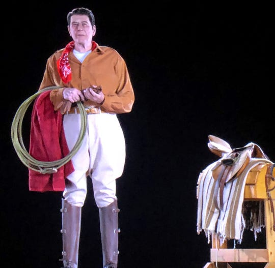 Former President Ronald Reagan appears in Western attire, as he might appear at his Santa Barbara ranch, but as a hologram, on display at the Ronald Reagan Presidential Library in Simi Valley on Wednesday.