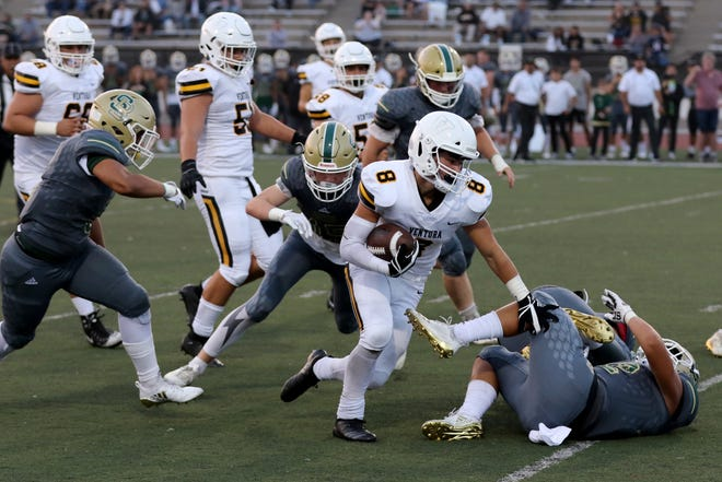 Running back Noah Conboy has been one of several players who have battled injuries this season for Ventura High.