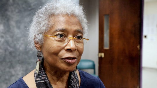Poet, novelist, activist and Pulitzer Prize winning author Alice Walker, prepares to speak at an intimate lecture at New Rochelle High School on Wednesday, October 10, 2018.