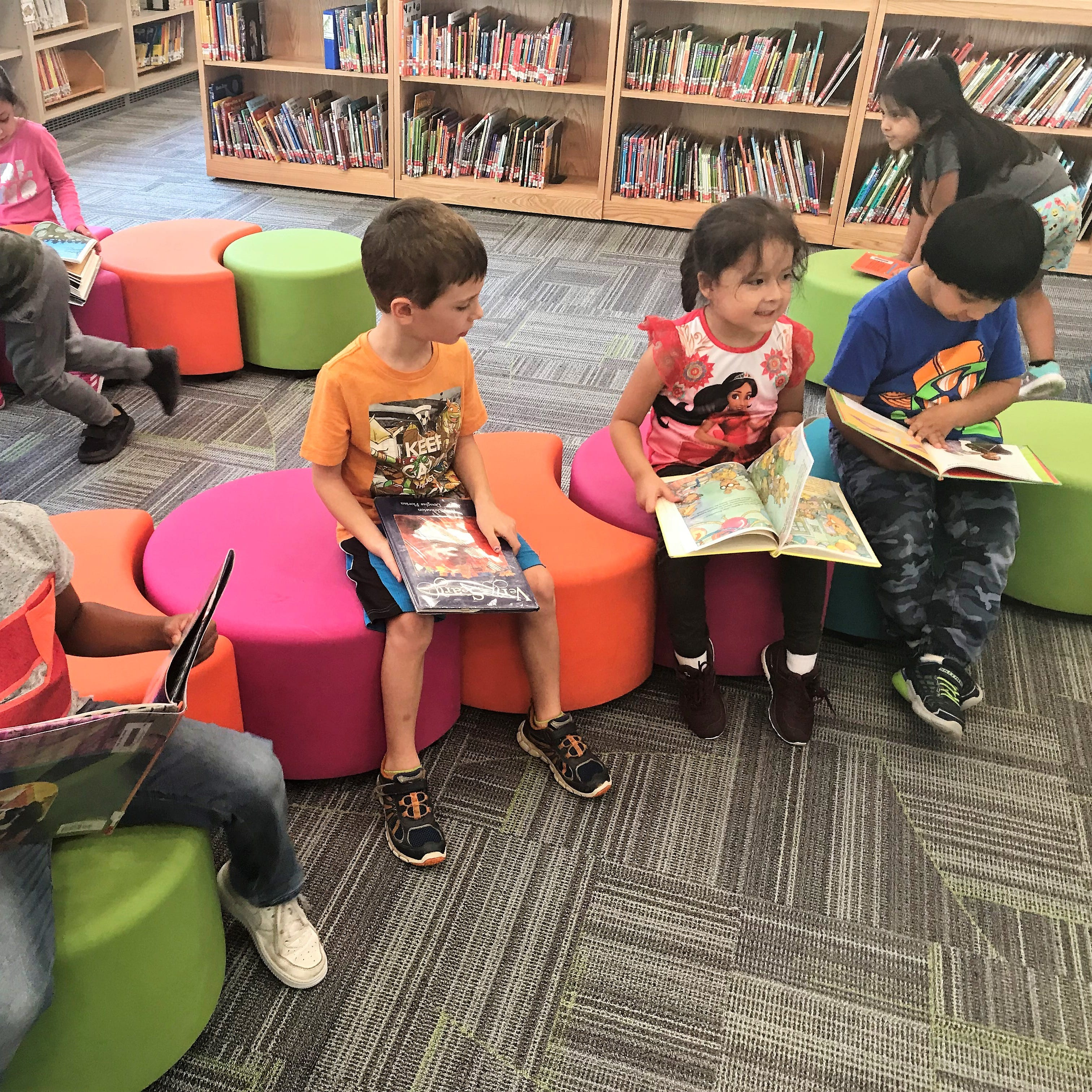 Students who attend the Park Early Childhood Learning Center in Ossining enjoy a new library unveiled in October 2018.