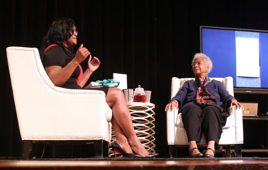 Poet, novelist, activist and Pulitzer Prize-winning author Alice Walker, listens to questions from Dr. Traci Alexander during an intimate lecture at New Rochelle High School in New Rochelle on Wednesday, October 10, 2018.