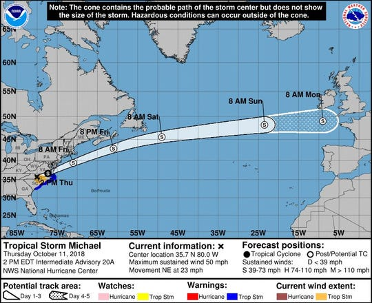 Tropical Storm Michael is rapidly moving over the Southeast toward the Atlantic Ocean.