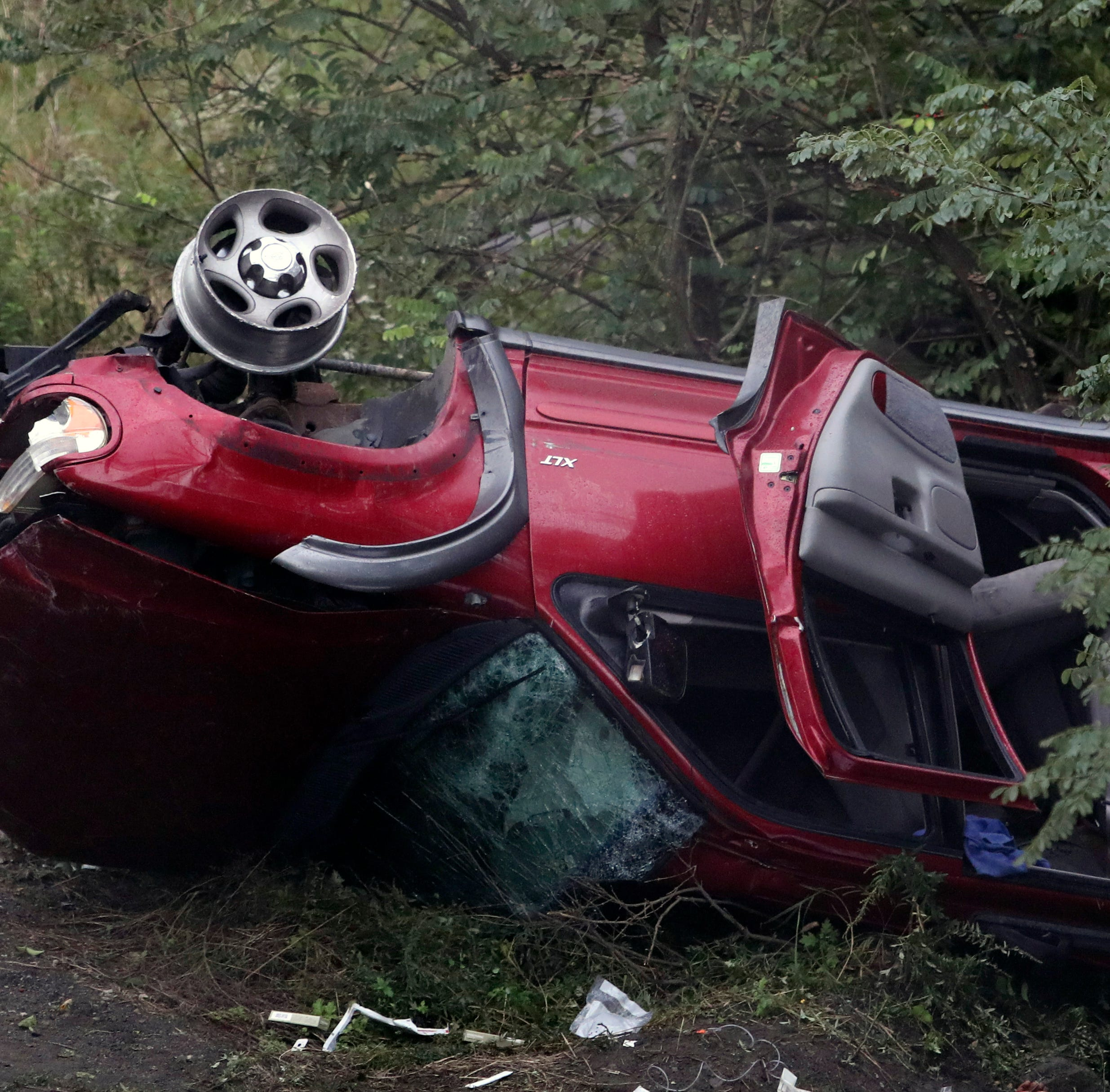 Vehicle plunges down embankment at Naamans Road near Claymont