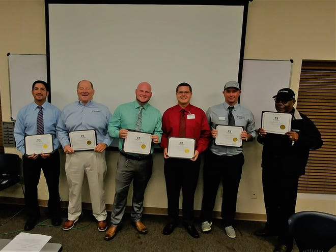 The Patterson Eagle Award winners for 3rd Quarter 2018 are: from left to right: Bobby Nunn, Mark Havens, David Craft, Dalton Smith, Michael Mason and Henry Broadus.