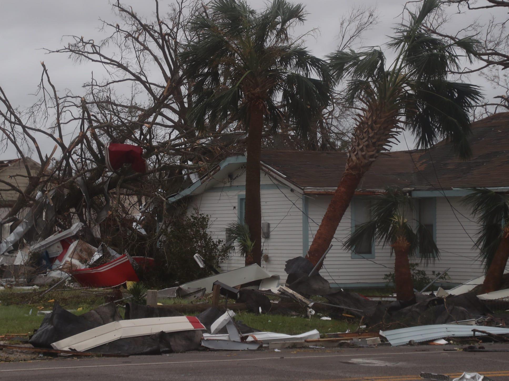 Damage from Hurricane Michael seen in Panama City, Florida.