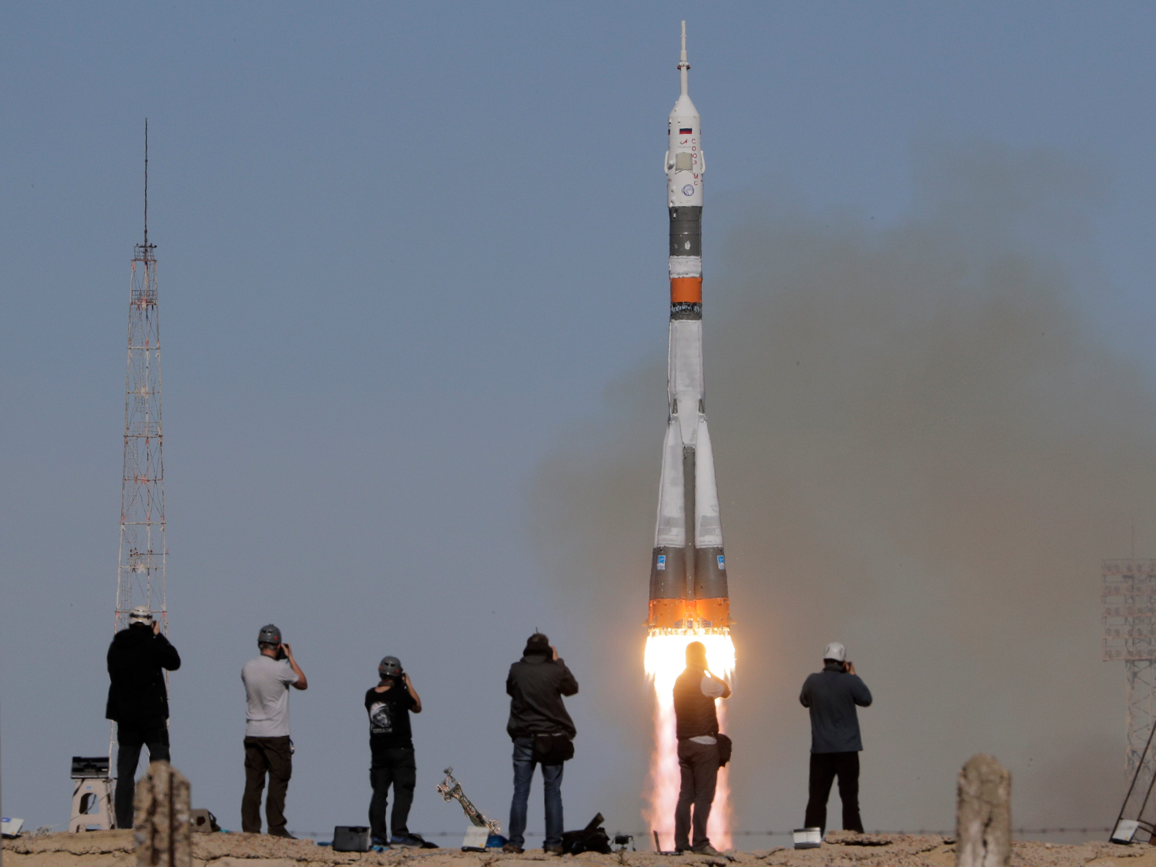 The Soyuz-FG rocket booster with Soyuz MS-10 space ship carrying a new crew to the International Space Station, ISS, blasts off at the Russian leased Baikonur cosmodrome, Kazakhstan, Thursday, Oct. 11, 2018. The Russian rocket carries U.S. astronaut Nick Hague and Russian cosmonaut Alexey Ovchinin. The two astronauts are making an emergency landing after a Russian booster rocket carrying them into orbit to the International Space Station has failed after launch. (AP Photo/Dmitri Lovetsky) ORG XMIT: XDL147