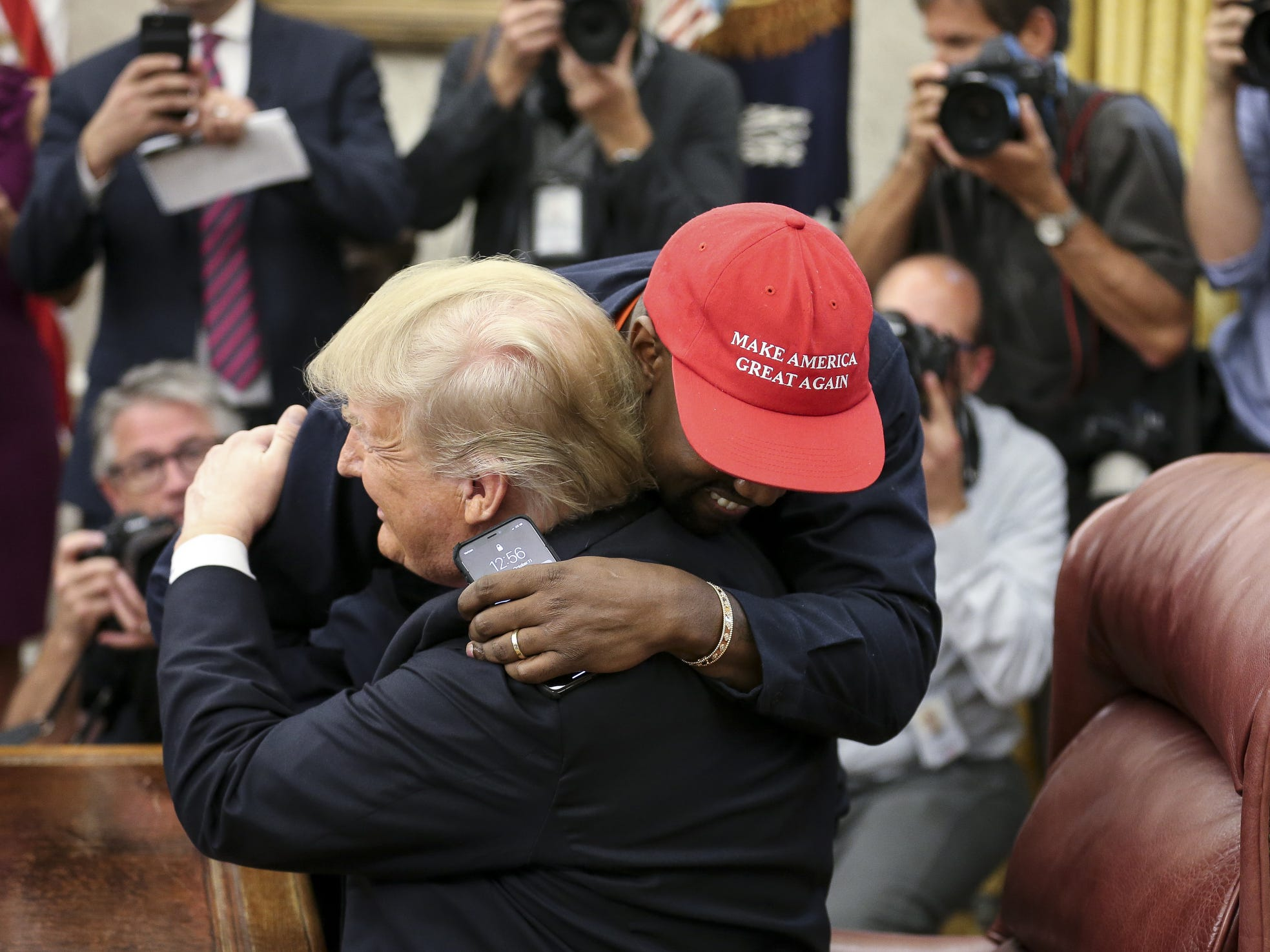 Maybe the plan was for a brief photo-opp with rapper Kanye West and former NFL great Jim Brown to meet with President Donald Trump, before a lunch to talk about policies concerning blacks in America, but Kanye has an audience so... We show you Kanye from all angles in the Oval Office on Oct. 11, 2018. Click ahead to see more.