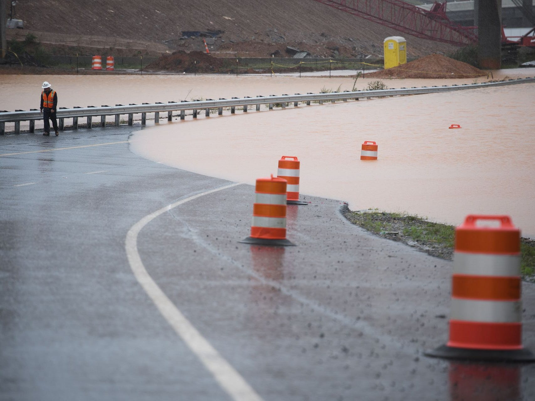 The Gateway Project at the intersection of Interstates 385 and 85 is flooded as Tropical Storm Michael hits the Greenville, S.C. area on Thursday, Oct. 11, 2018.