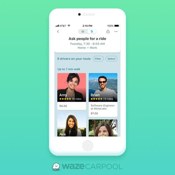 Screenshot of Waze's carpool app