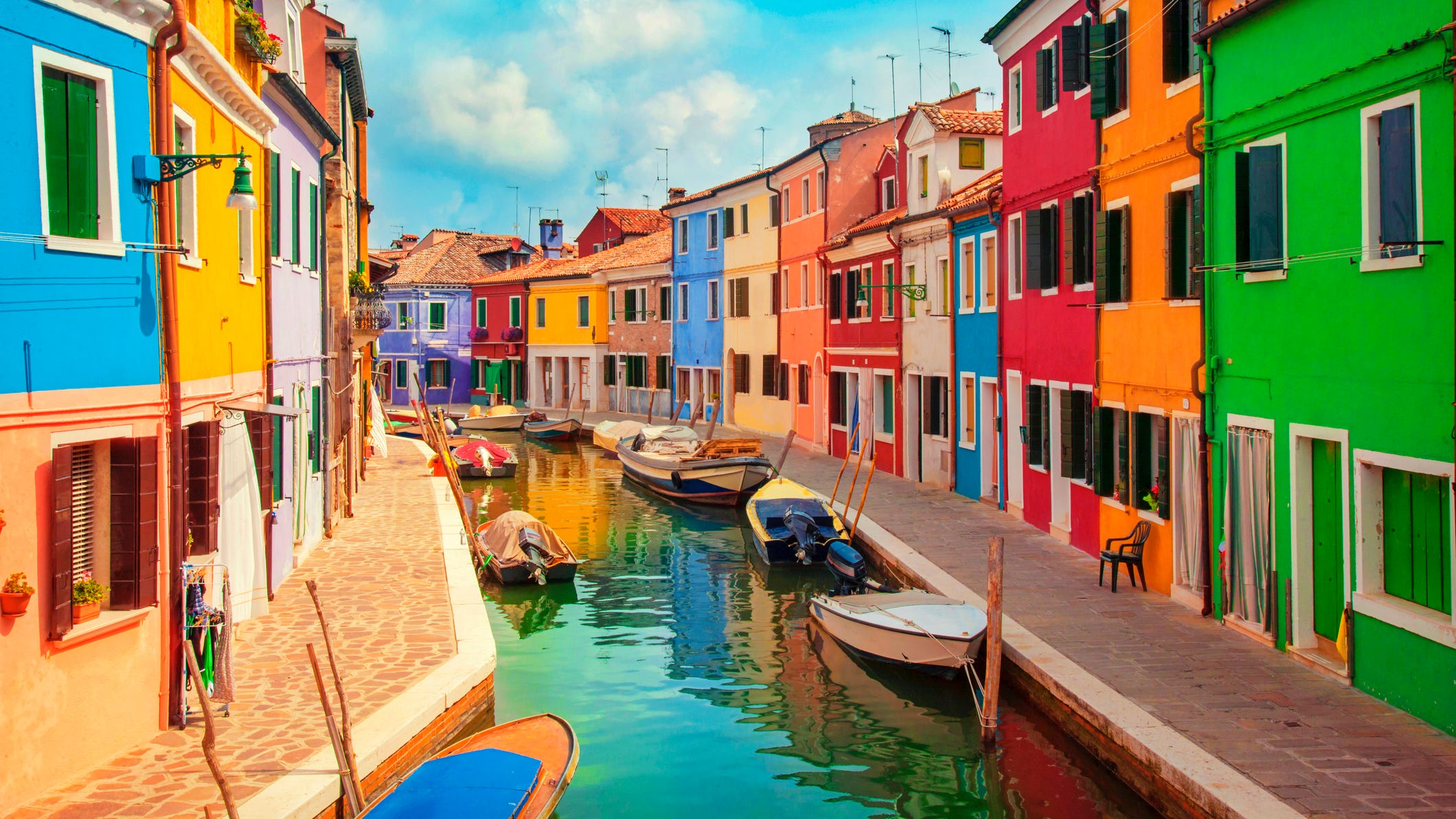 Burano, Italy: Just a 45-minute vaporetto ride from Venice, Burano is also built around a network of canals, but it's got a completely different vibe from its famous neighbor.