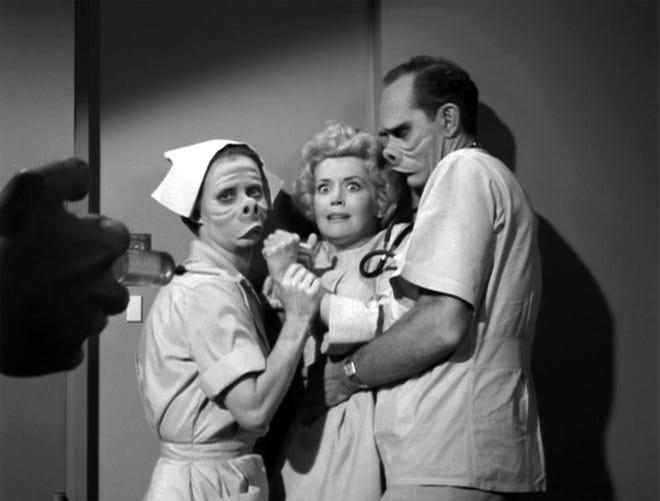 "The classic ""The Twilight Zone,"" created by Rod Sterling, presented standalone episodes featuring the supernatural and scary. The episode ""Eye of the Beholder,"" featured Donna Douglas as a woman who undergoes surgery to look ""normal."""