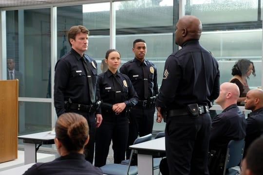 "Nathan Fillion, Melissa O'Neil, Titus Makin and Richard T. Jones on ""The Rookie."""