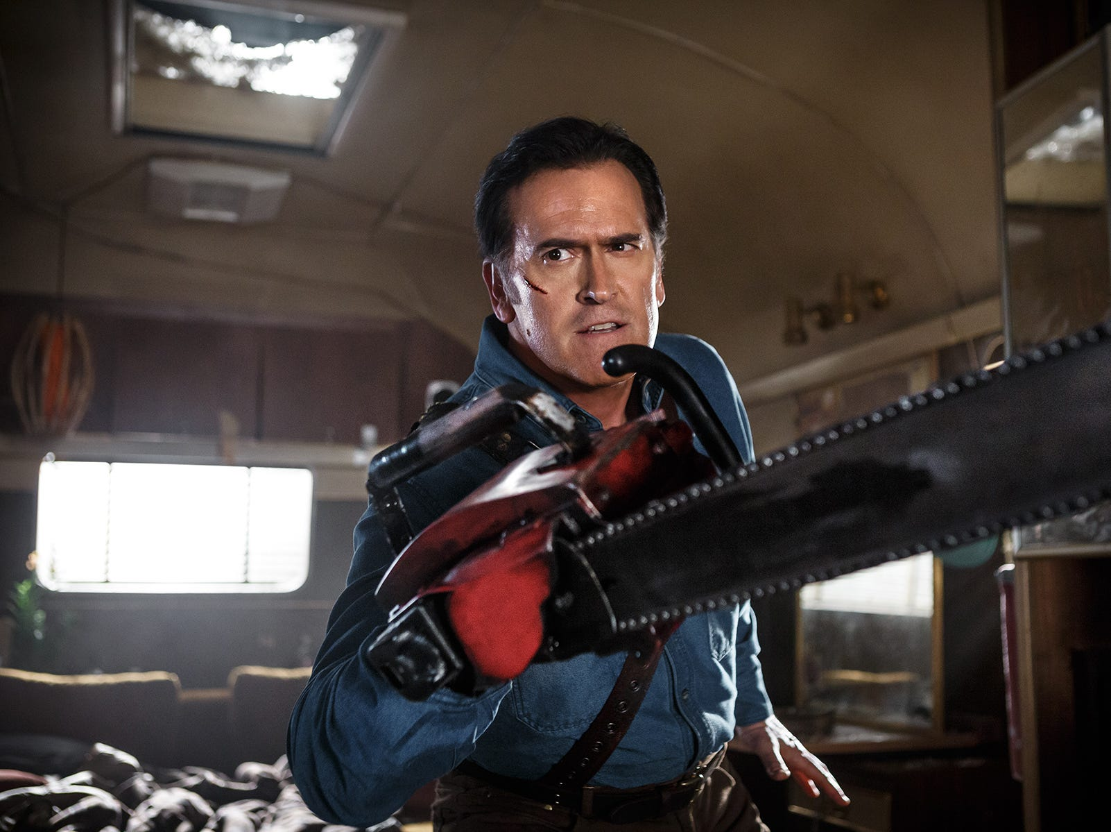 "Set decades after the ""Evil Dead"" movie franchise, Ash Williams (Bruce Campbell) is once again called upon to save humanity in Starz' ""Ash vs. Evil Dead."""