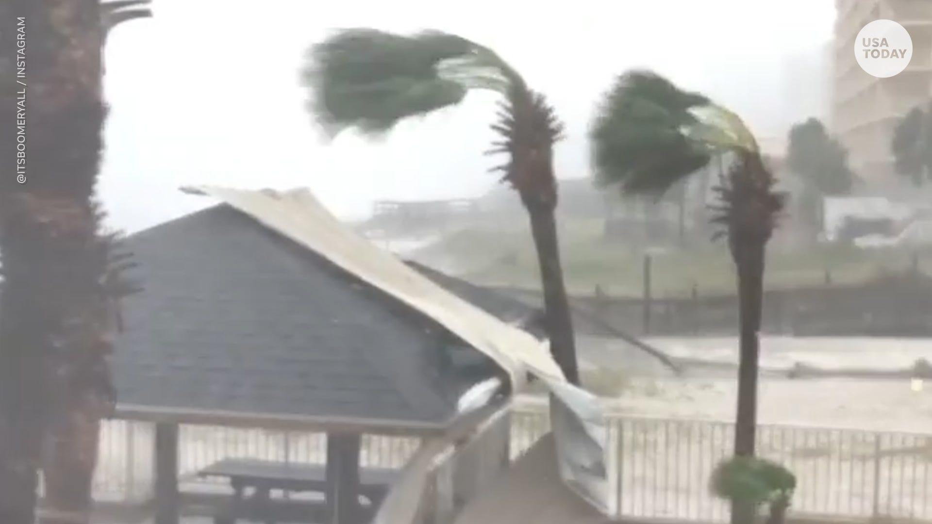 Debris flying at Panama City Beach during Hurricane Michael