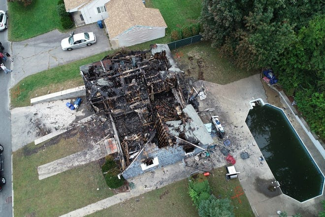 Aerial view of a home destroyed by a natural gas explosion in Massachusetts Sept. 13.