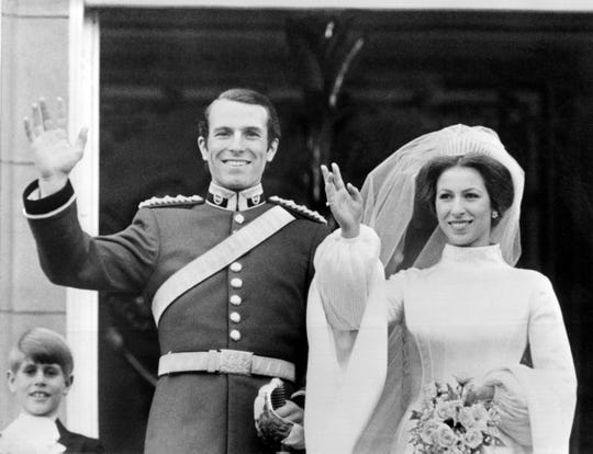 Princess Anne and her husband Captain Mark Phillips on the balcony of  Buckingham Palace after their wedding, Nov. 14, 1973.