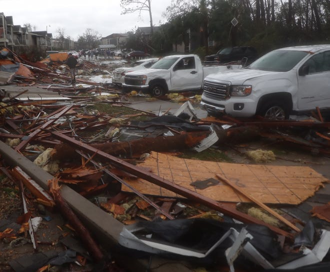 Heavy damage caused by Hurricane Michael in Panama City, Florida.