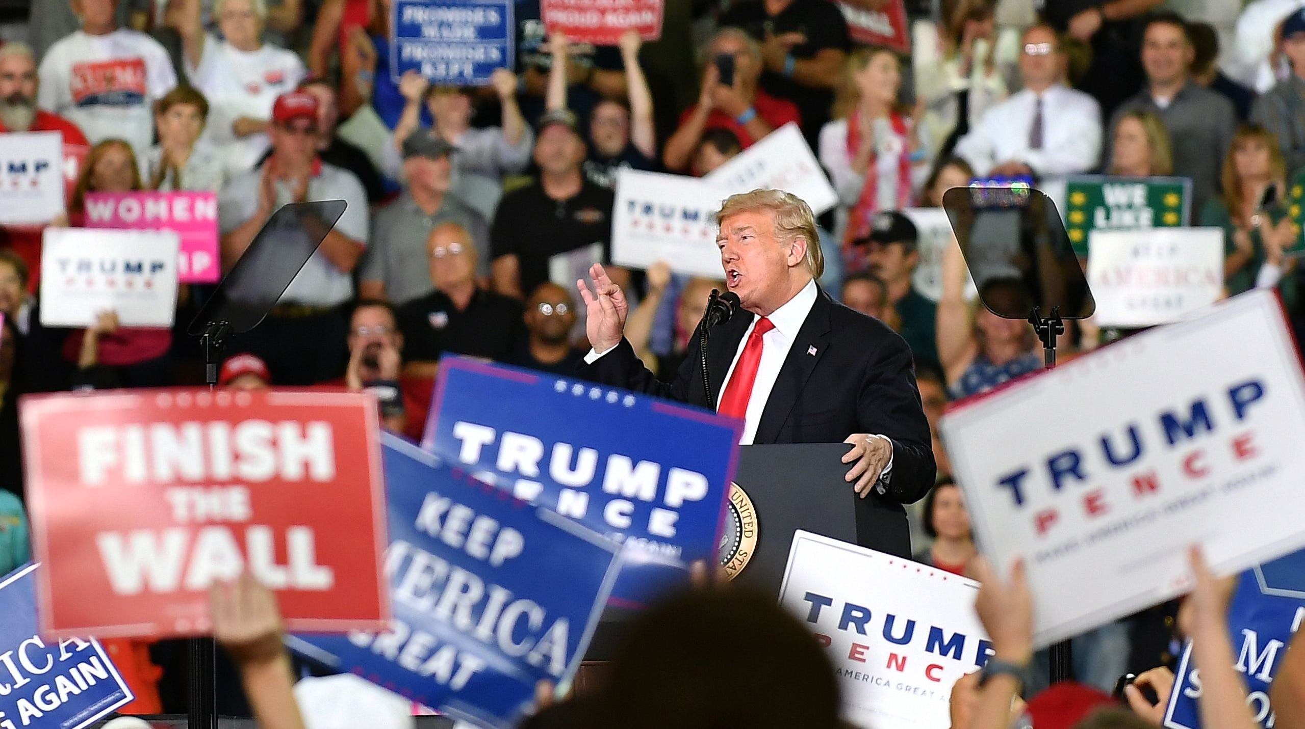 President Donald Trump speaks at a campaign rally in Erie, Pennsylvania