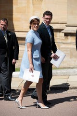 Princess Eugenie and Jack Brooksbank at the wedding of Prince Harry and Meghan Markle, at Windsor Castle on May 19, 2018.