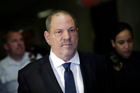 Harvey Weinstein enters court in Manhattan on Oct. 11.