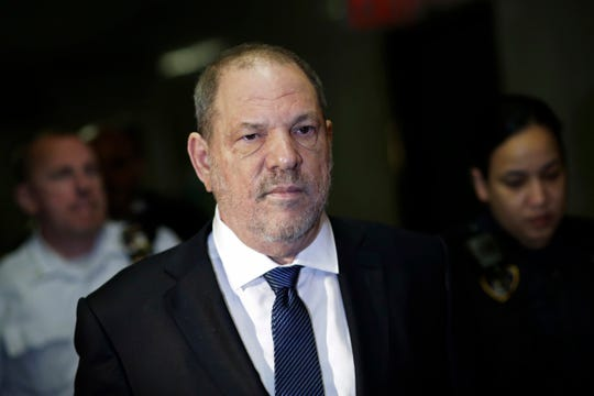 Harvey Weinstein enters court in Manhattan on Oct. 11.