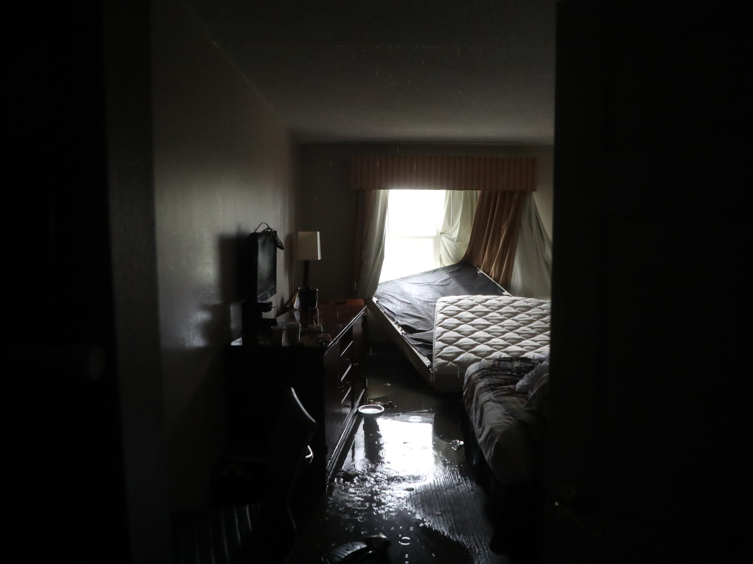 A damaged room from Hurricane Michael at the Country Inn.