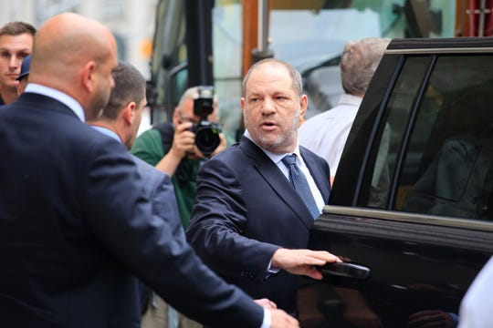Harvey Weinstein leaves New York Criminal Court Oct. 11, 2018 after a hearing on his sex-crimes case resulting in dismissal of one charge against him.