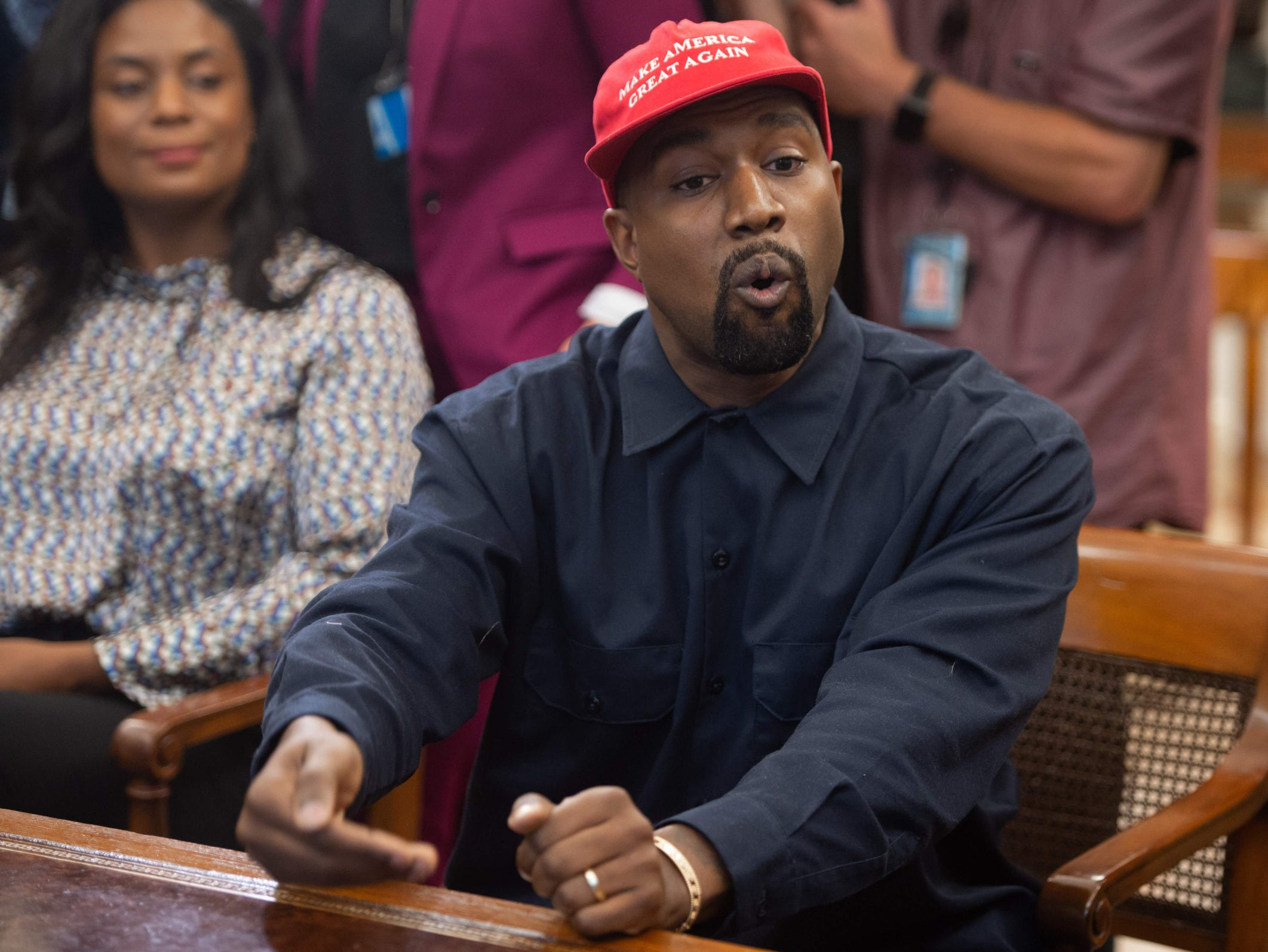 Kanye speaks in the Oval Office.