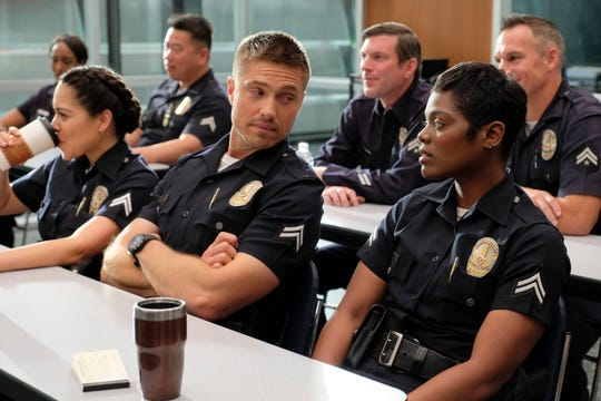"Alyssa Diaz, Eric Winter and Afton Williamson on ""The Rookie."""