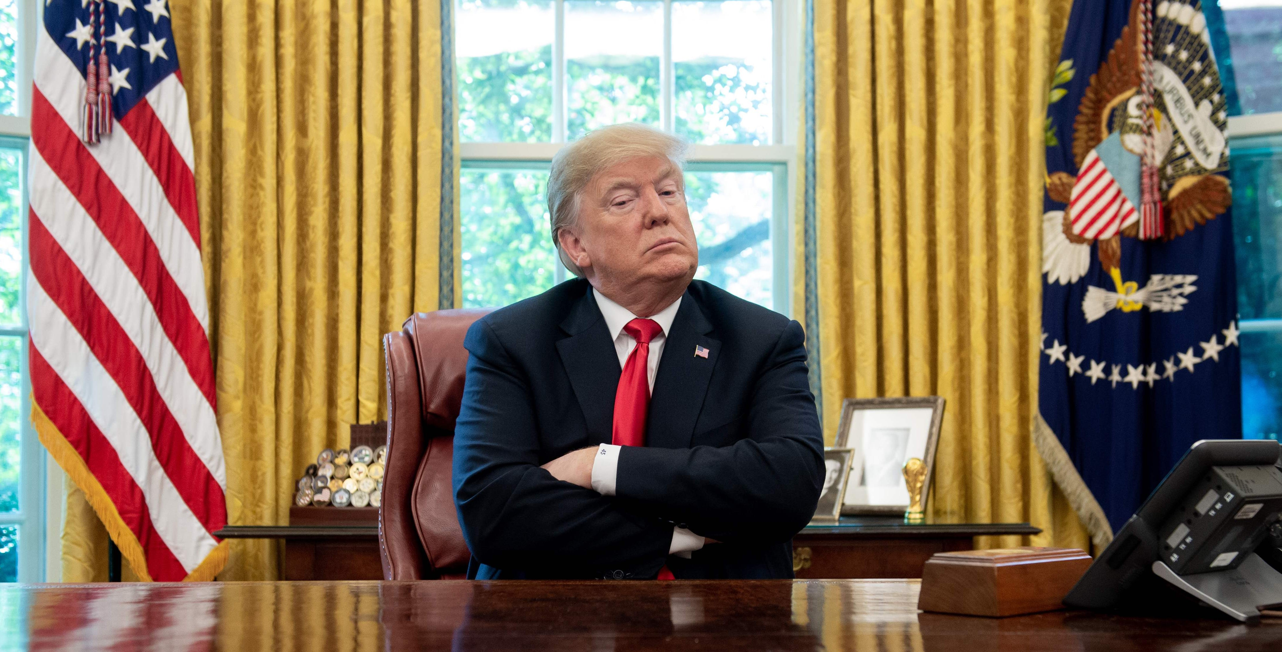 President Donald Trump speaks during a briefing on Hurricane Michael in the Oval Office of the White House in Washington, on Oct. 10, 2018.
