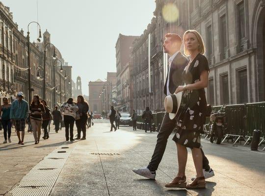 Juan Pablo Castaneda, left, and Radha Mitchell star in the 'Panorama' episode of Amazon's 'The Romanoffs.'