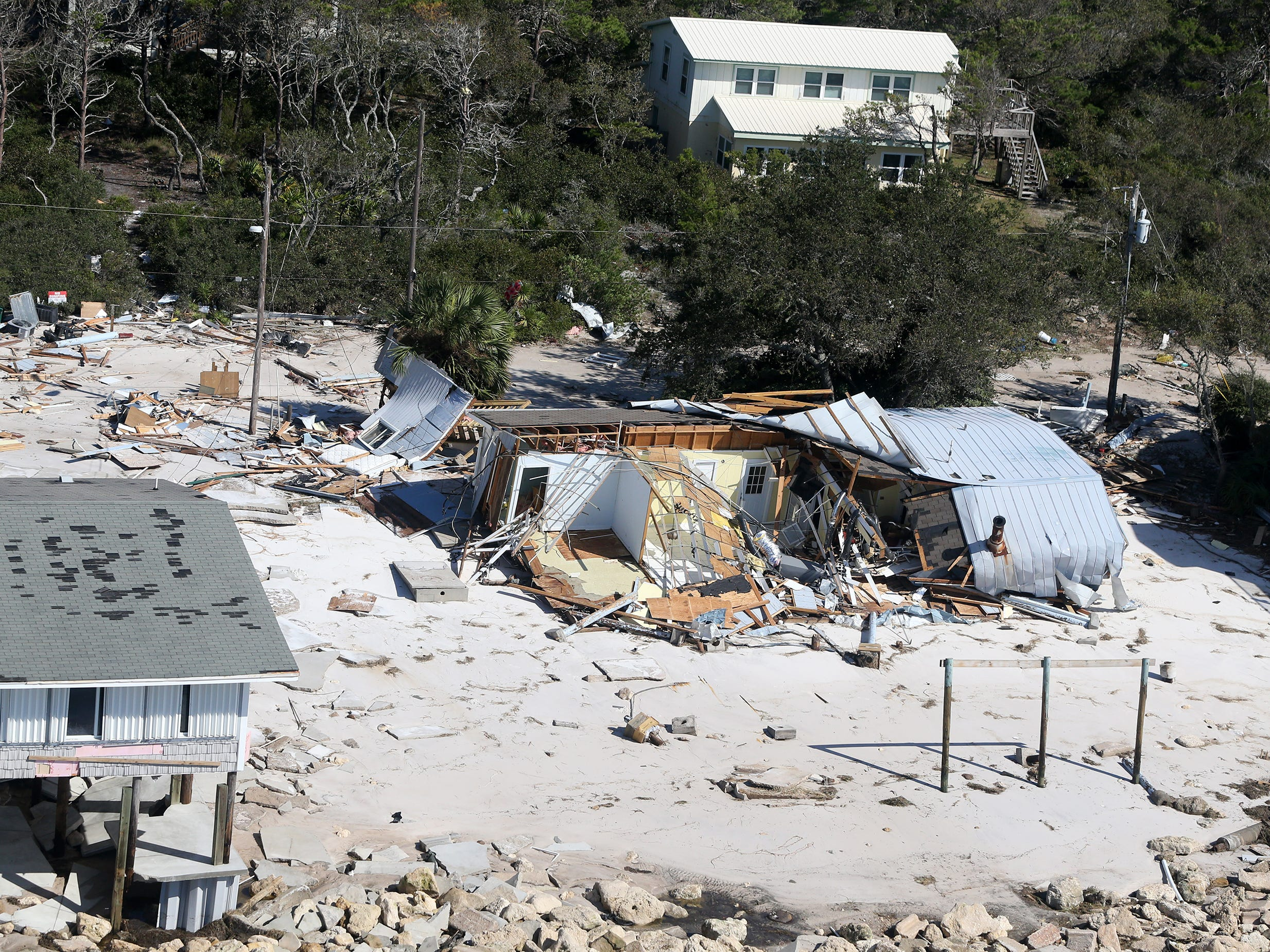 Hurricane Michael damaged several homes on Alligator Point in Franklin County, Fla., Oct. 11, 2018.