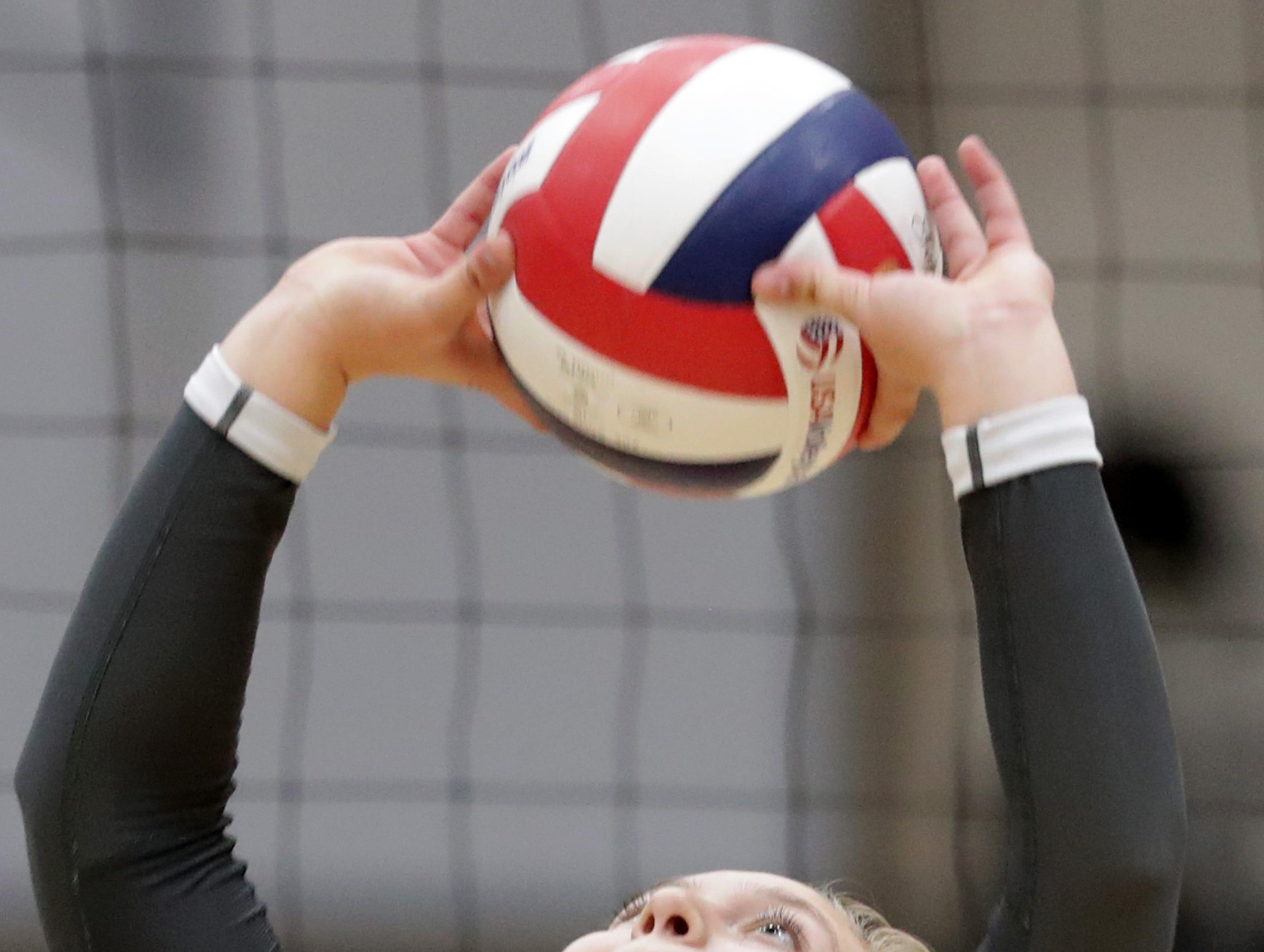 Kaukauna High School's #10 Vannessa Uitenbroek against Appleton East High School during their girls volleyball game on Thursday, October 11, 2018, in Kaukauna, Wis. Wm. Glasheen/USA TODAY NETWORK-Wisconsin.