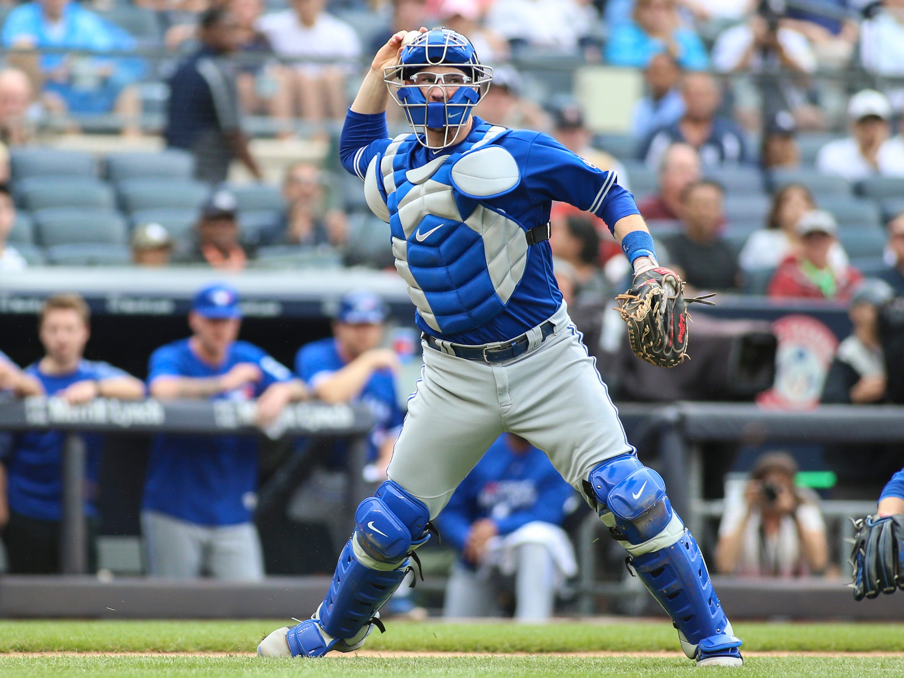 Aug 19, 2018; Bronx, NY, USA; Toronto Blue Jays catcher Danny Jansen (9) throws to first base in the first inning against the New York Yankees at Yankee Stadium. Mandatory Credit: Wendell Cruz-USA TODAY Sports