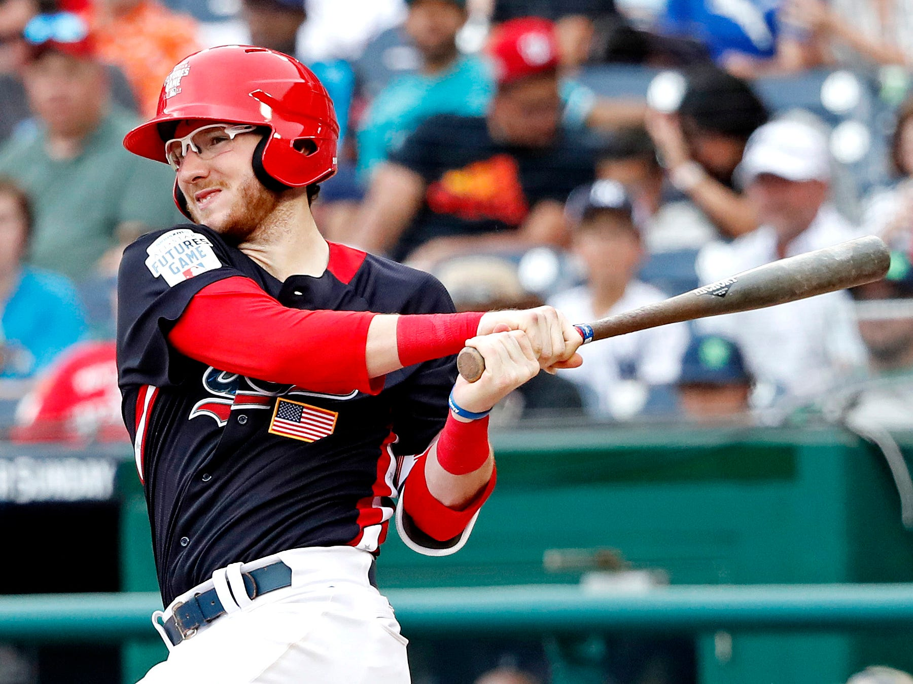 Jul 15, 2018; Washington, DC, USA; USA catcher Danny Jansen (9) hits a two run home run during the forth inning against the World Team during the 2018 All Star Futures Game at Nationals Ballpark. Mandatory Credit: Geoff Burke-USA TODAY Sports