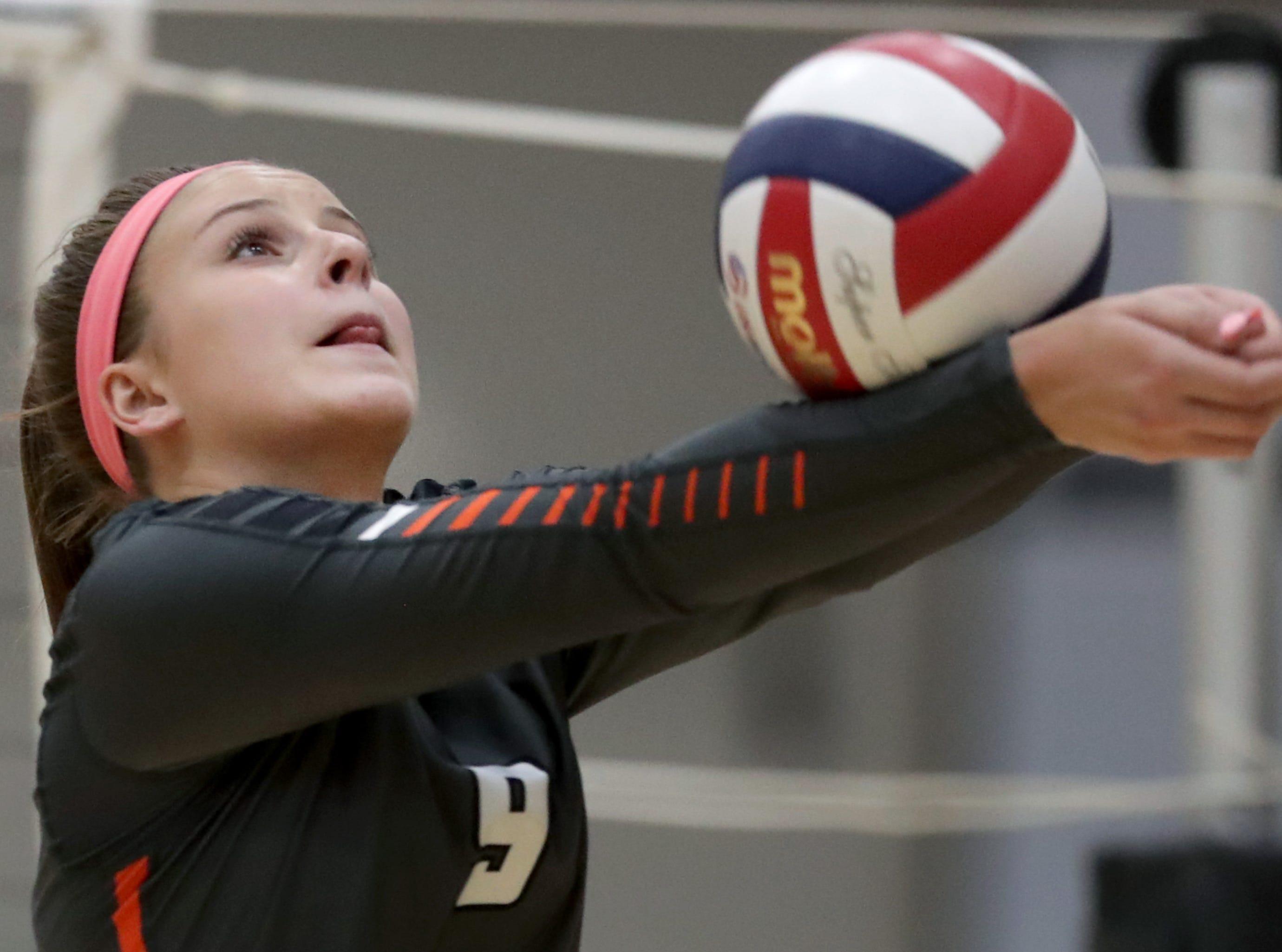 Kaukauna High School's #9 Morgan Zwick against Appleton East High School during their girls volleyball game on Thursday, October 11, 2018, in Kaukauna, Wis. Wm. Glasheen/USA TODAY NETWORK-Wisconsin.