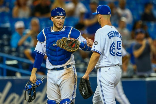 Appleton native Danny Jansen (left) made his debut with the Toronto Blue Jays last season.
