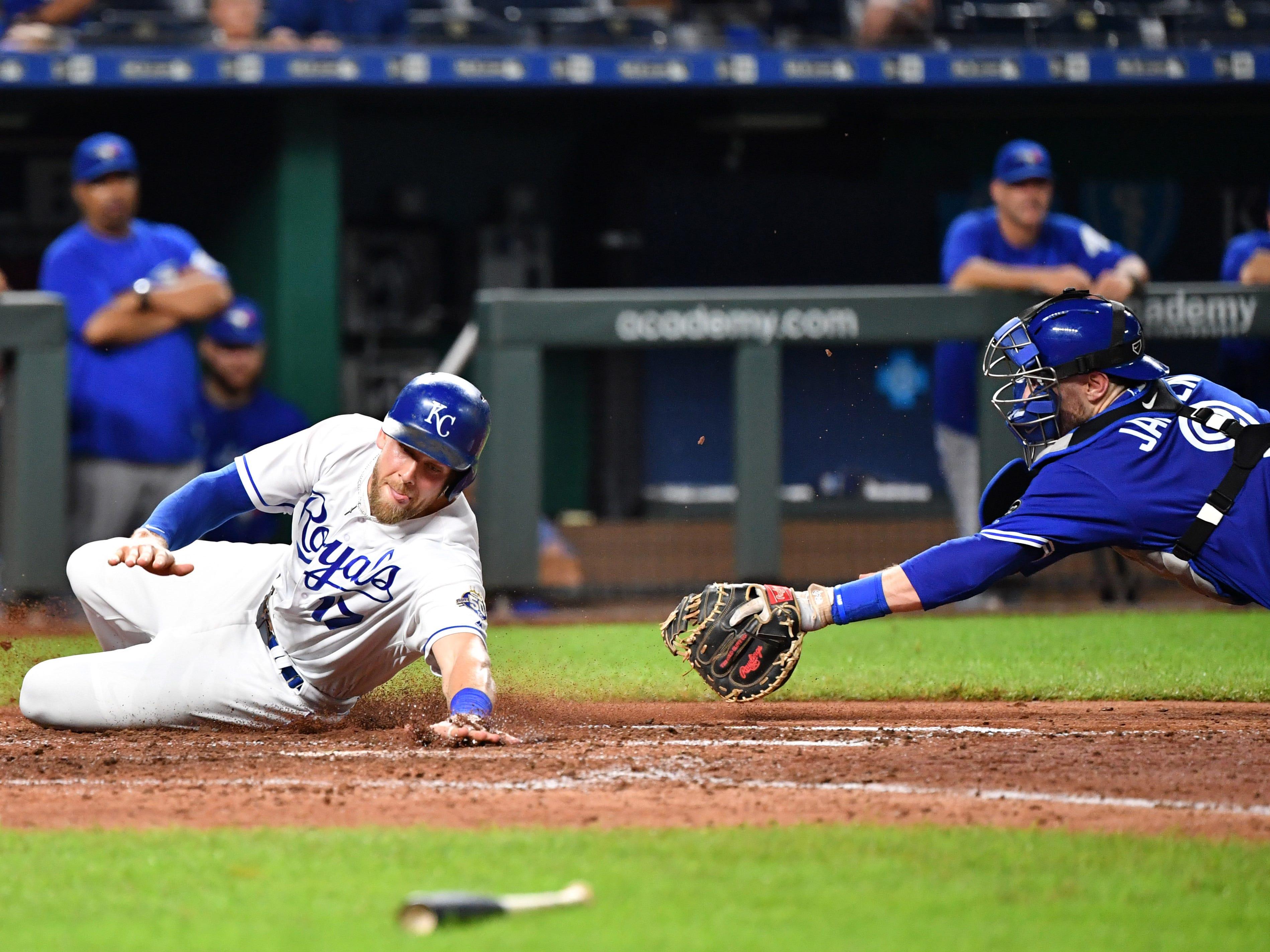 Aug 16, 2018; Kansas City, MO, USA; during the sixth inning against the Toronto Blue Jays at Kauffman Stadium. Mandatory Credit: Peter G. Aiken/USA TODAY Sports