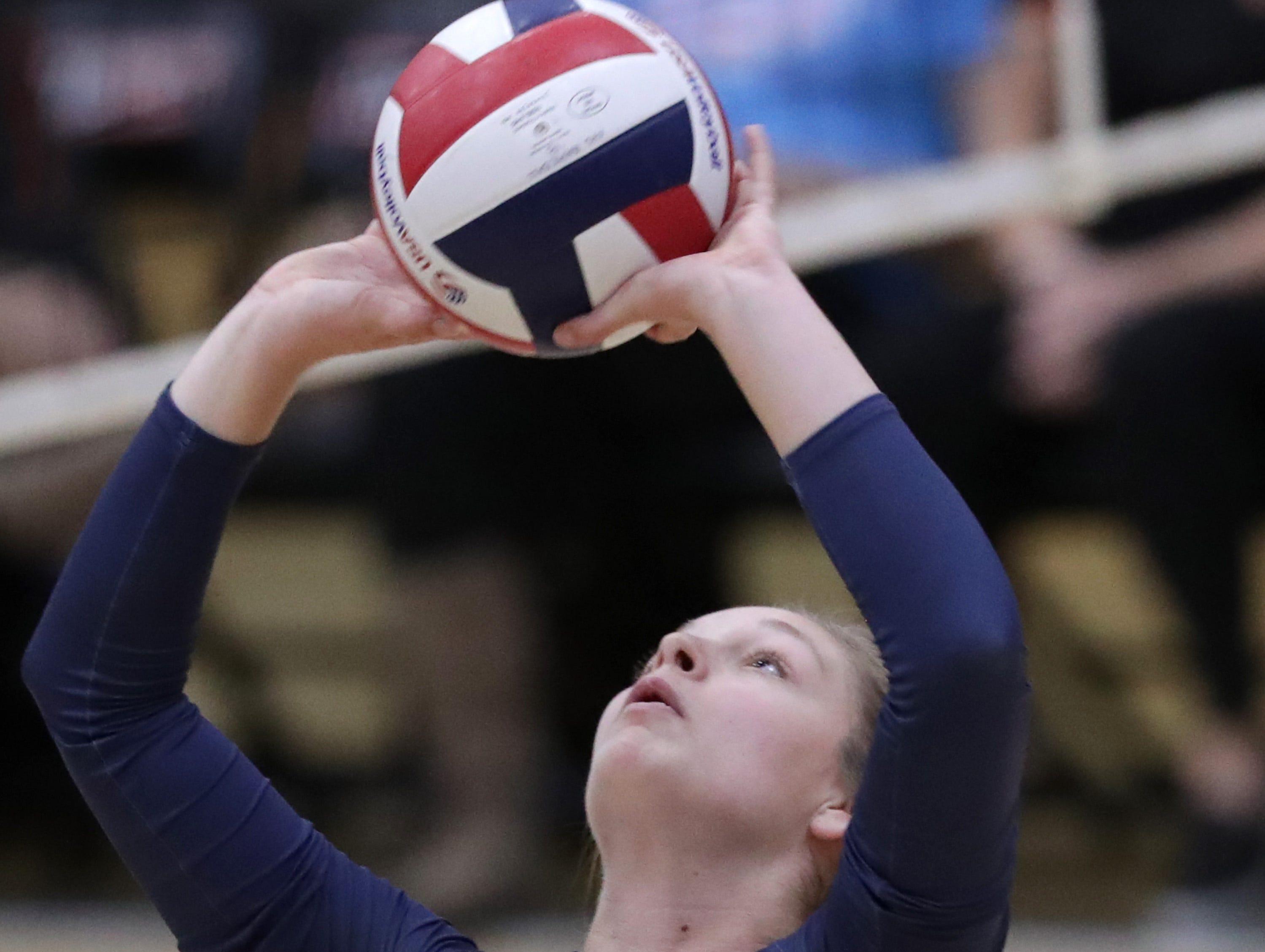 Appleton East High School's #9 Kellyn Kennedy against Kaukauna High School during their girls volleyball game on Thursday, October 11, 2018, in Kaukauna, Wis. Wm. Glasheen/USA TODAY NETWORK-Wisconsin.