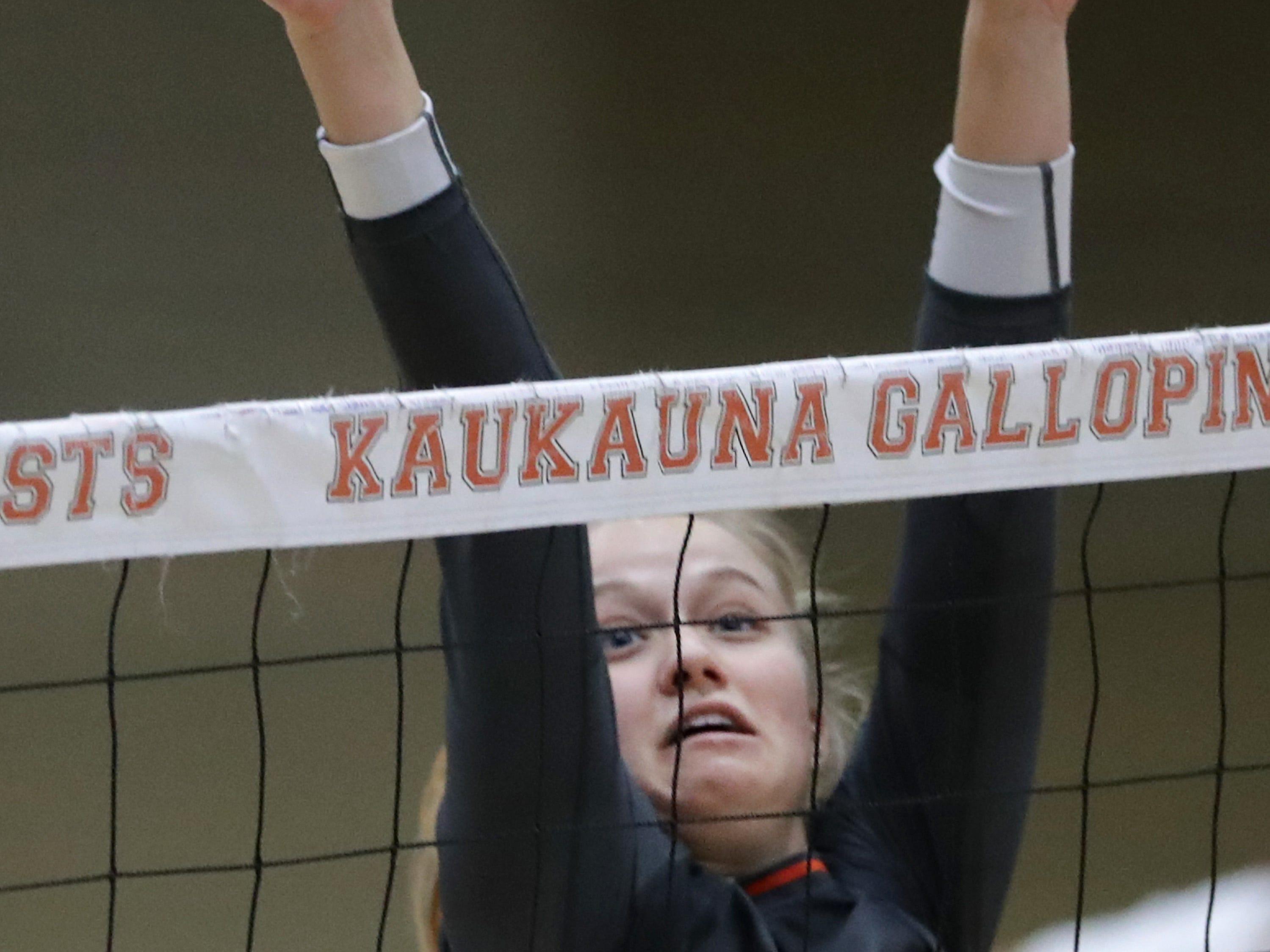 Kaukauna High School's #7 Savannah DeValk against Appleton East High School during their girls volleyball game on Thursday, October 11, 2018, in Kaukauna, Wis. Wm. Glasheen/USA TODAY NETWORK-Wisconsin.