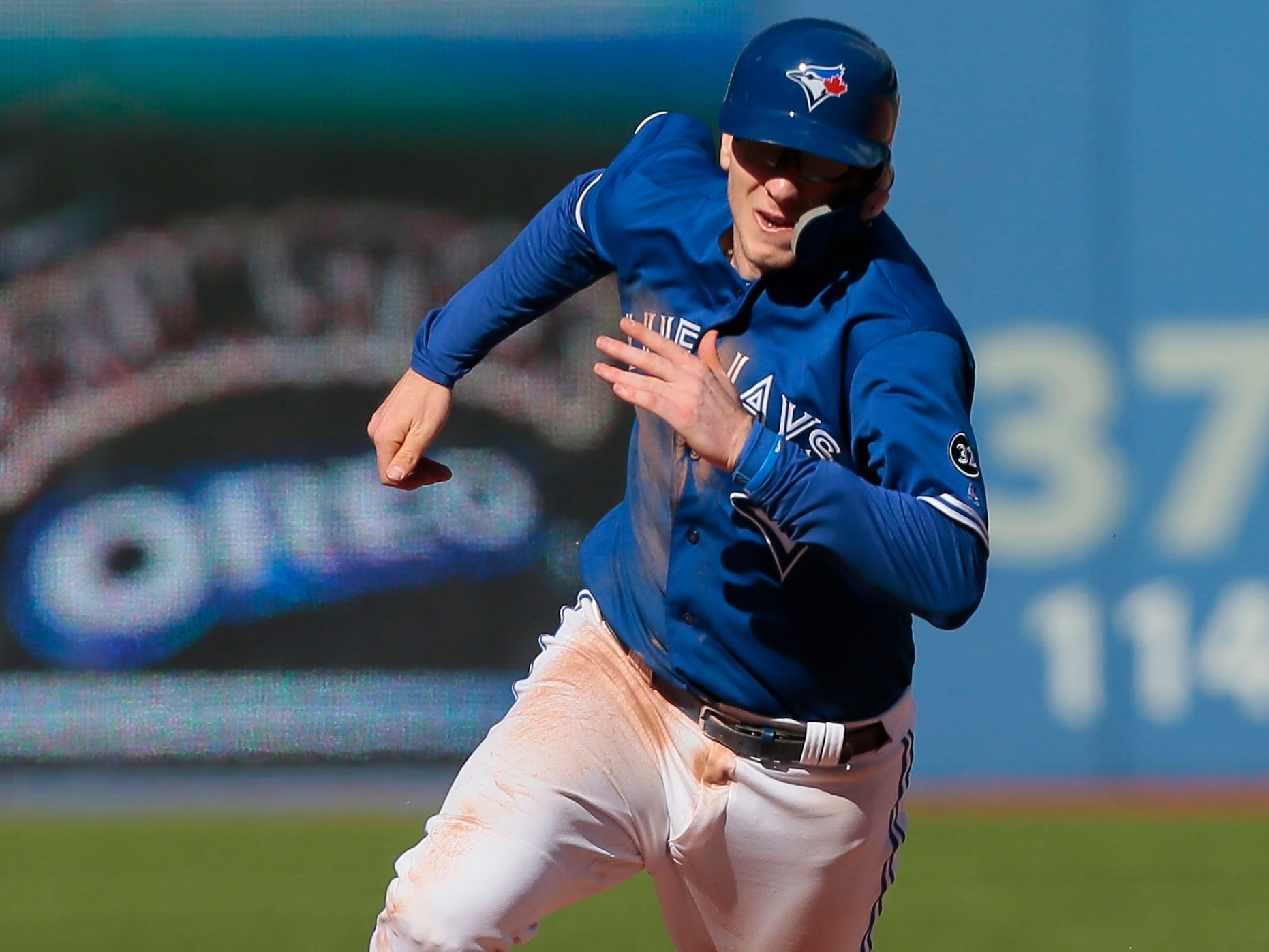 Sep 23, 2018; Toronto, Ontario, CAN; Toronto Blue Jays catcher Danny Jansen heads for third base on a double hit by Toronto Blue Jays shortstop Richard Urena (notpictured) in the eighth inning against the Tampa Bay Rays at Rogers Centre. Tampa Bay defeated Toronto. Mandatory Credit: John E. Sokolowski-USA TODAY Sports