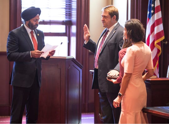 NJ Attorney General Gurbir Grewal swears in Billhimer. Administration of the oath of office to Bradley D. Billhimer as Ocean County Prosecutor takes place in historic Courtroom One at the Ocean County Courthouse.  Toms River, NJFriday, October, 12, 2018
