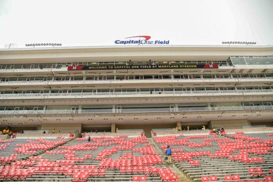 Sep 15, 2018; College Park, MD, USA; A general view of the press box at Capital One Field at Maryland Stadium.