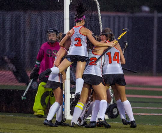 Middletown North celebrate their first half goal. Brick Field Hockey vs Middletown North in SCT preliminary round game in Middletown, NJ on October 11, 2018.