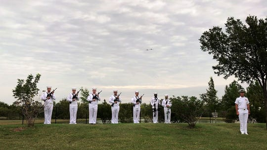 There was a rifle detail for a 21-gun salute and a two-plane flyover at the Texas State Veterans Cemetery north of Abilene on Friday for the funeral of Navy Reserve Cmdr. Charles B. Goodwin of Haskell.