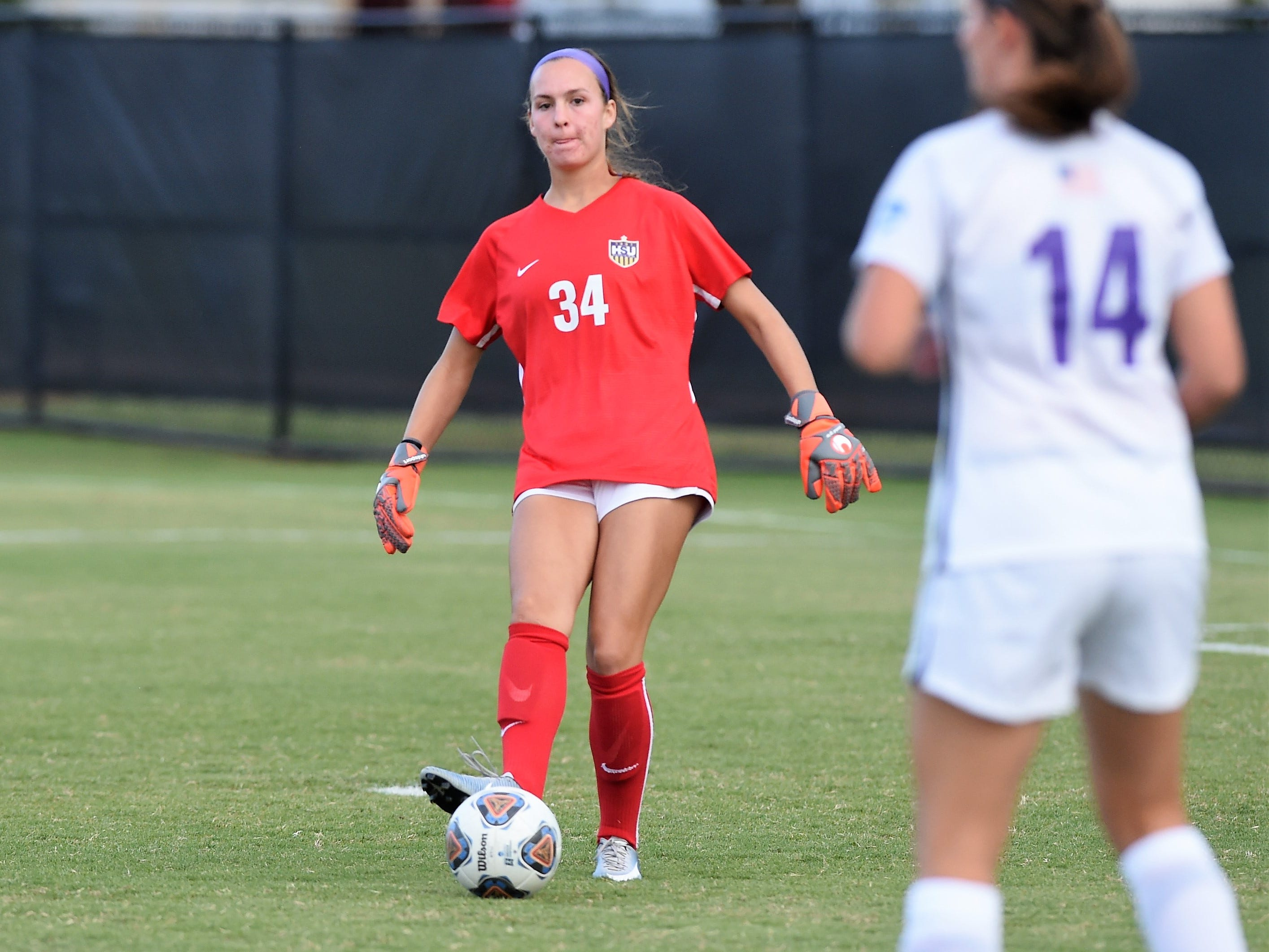 Hardin-Simmons keeper Caitlin Christiansen (34) passes the ball against Howard Payne at the HSU Soccer Complex on Thursday, Oct. 11, 2018. The Cowgirls won 4-1.