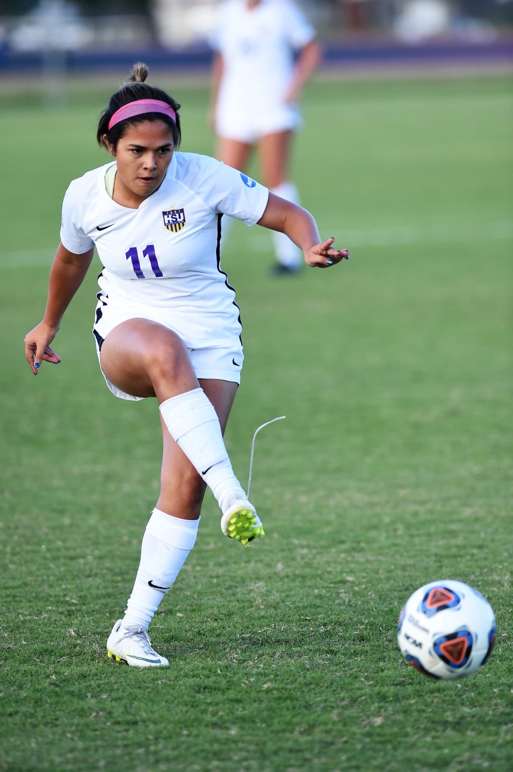 Hardin-Simmons defender Avery Lara (11) has gotten involved in the offense from the back during her freshman year. The Abilene High grad has taken corner kicks for the Cowgirls and has two assists this season.