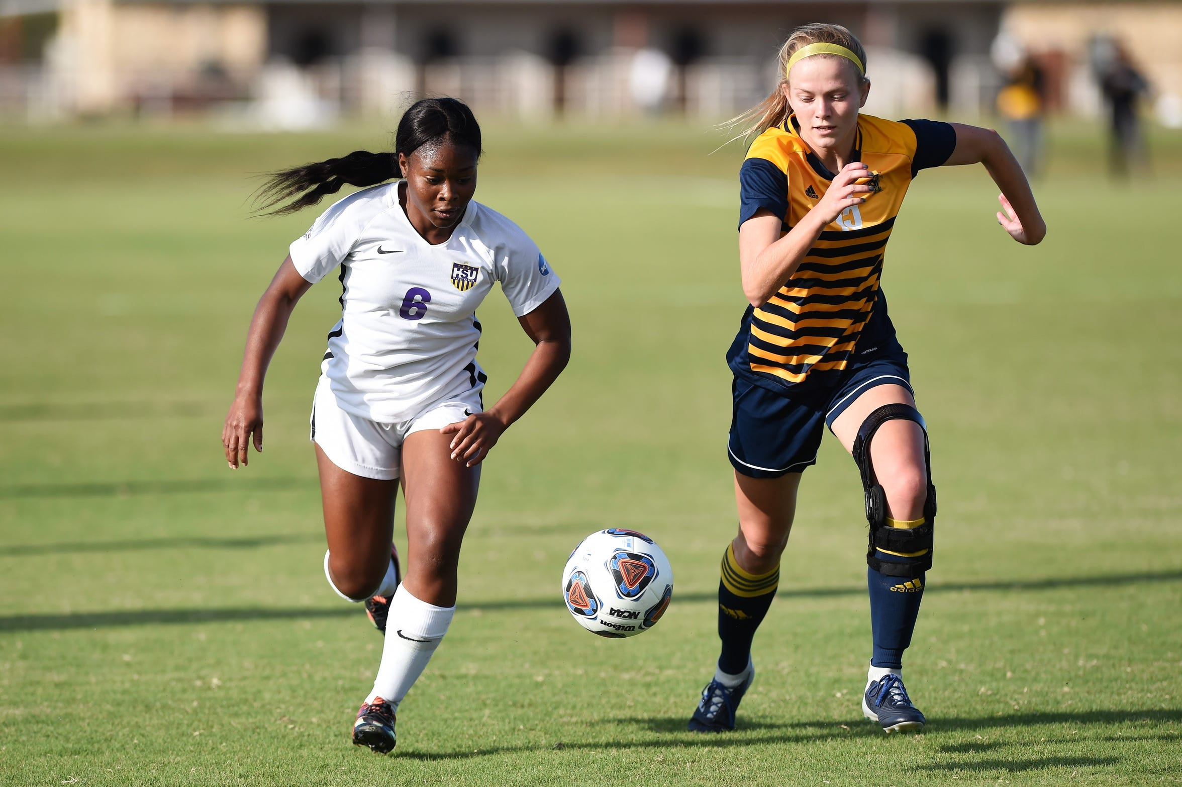 Hardin-Simmons forward Finda Kollie (6) has made the transition from Abilene High to college soccer well. Kollie played in all 18 HSU games this season and will be a key for the Cowgirls entering the NCAA tournament.